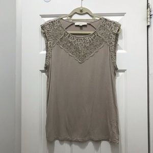Stone Grey Tank Top with Lace, LOFT, Size L